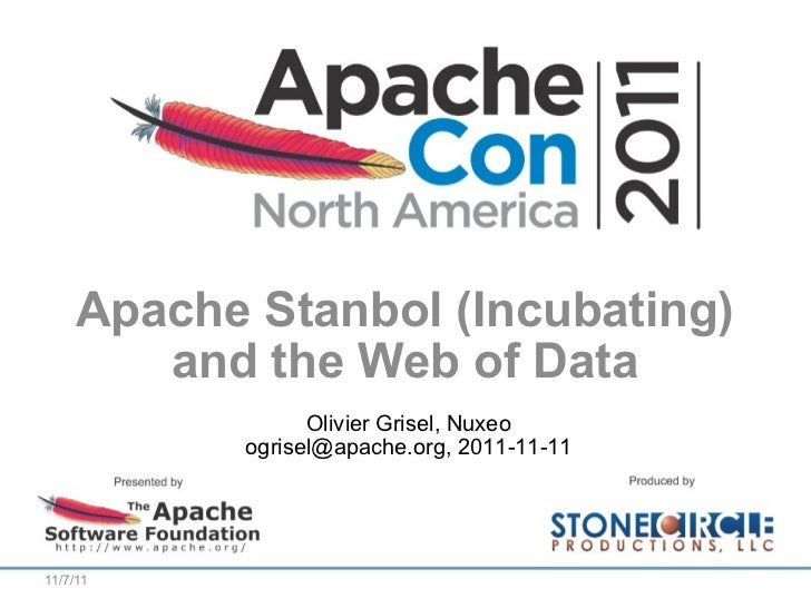 Apache Stanbol (Incubating) and the Web of Data Olivier Grisel, Nuxeo ogrisel@apache.org, 2011-11-11 11/7/11