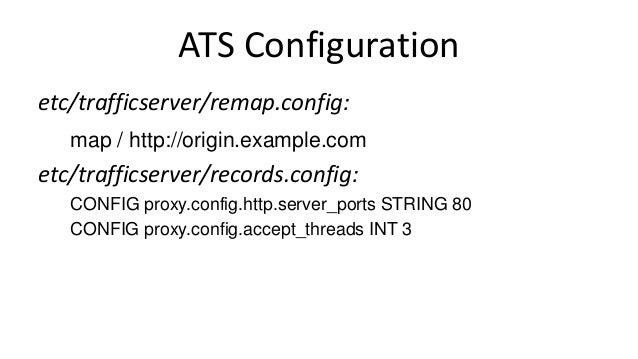 ATS Configuration etc/trafficserver/remap.config: map / http://origin.example.com etc/trafficserver/records.config: CONFIG...
