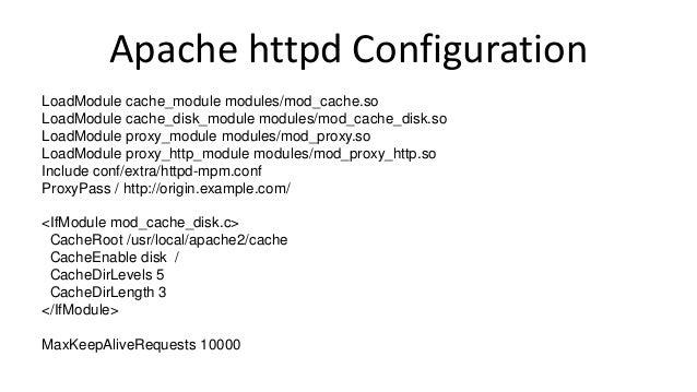 Apache httpd Configuration LoadModule cache_module modules/mod_cache.so LoadModule cache_disk_module modules/mod_cache_dis...