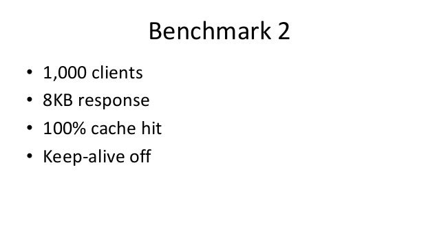 Benchmark 2 • 1,000 clients • 8KB response • 100% cache hit • Keep-alive off