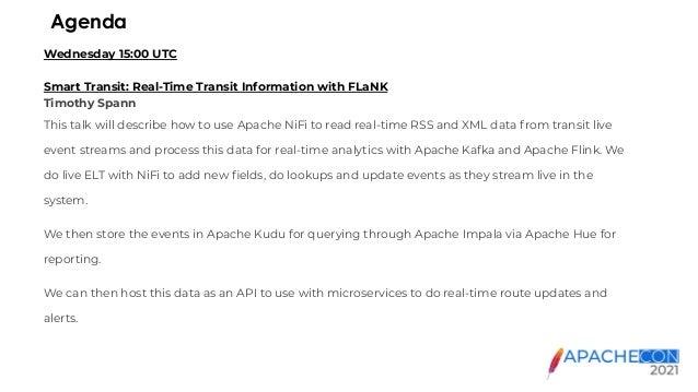 ApacheCon 2021   Smart Transit -  real-time transit information with FLIP Slide 2