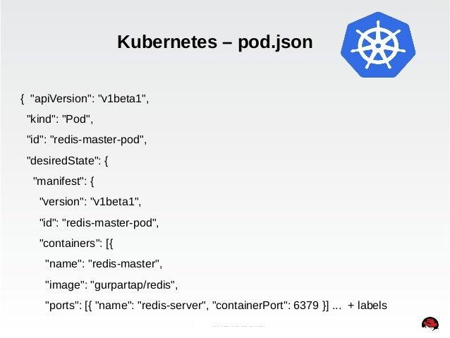 "Kubernetes – pod.json  INTERNAL ONLY  { ""apiVersion"": ""v1beta1"",  ""kind"": ""Pod"",  ""id"": ""redis-master-pod"",  ""desiredState..."