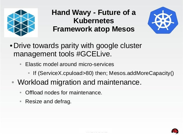 Hand Wavy - Future of a  Kubernetes  Framework atop Mesos  ●Drive towards parity with google cluster  management tools #GC...