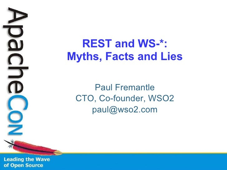 REST and WS-*: Myths, Facts and Lies Paul Fremantle CTO, Co-founder, WSO2 [email_address]