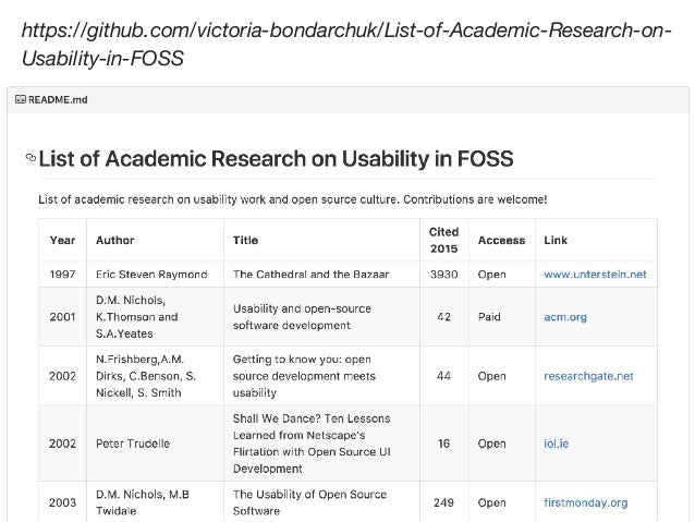 ACADEMIC STUDIES ON FOSS AND USABILITY Usability is separate from the utility of software (whether it can perform some fun...