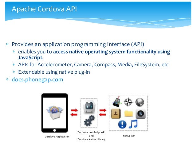 Apache Cordova APIProvides an application programming interface (API)  enables you to access native operating system funct...