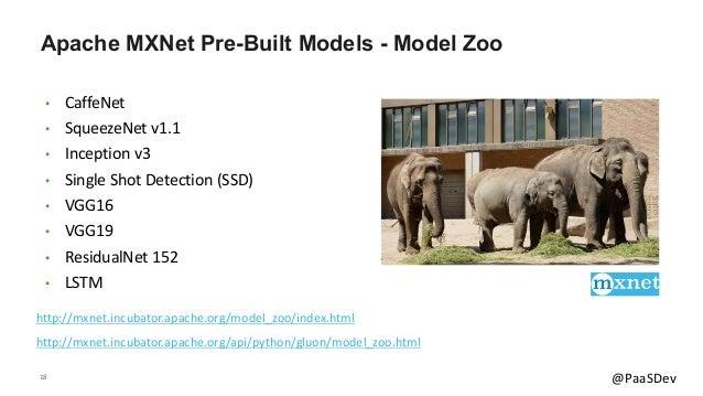 18 @PaaSDev Apache MXNet Pre-Built Models - Model Zoo • CaffeNet • SqueezeNet v1.1 • Inception v3 • Single Shot Detection ...
