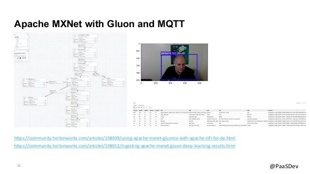 21 @PaaSDev Apache MXNet with Gluon and MQTT https://community.hortonworks.com/articles/198939/using-apache-mxnet-gluoncv-...