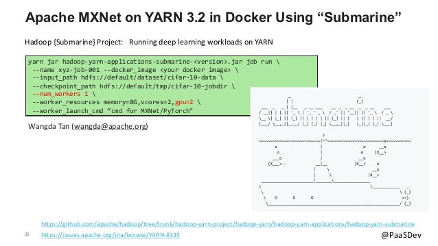 """35 @PaaSDev Apache MXNet on YARN 3.2 in Docker Using """"Submarine"""" https://github.com/apache/hadoop/tree/trunk/hadoop-yarn-p..."""