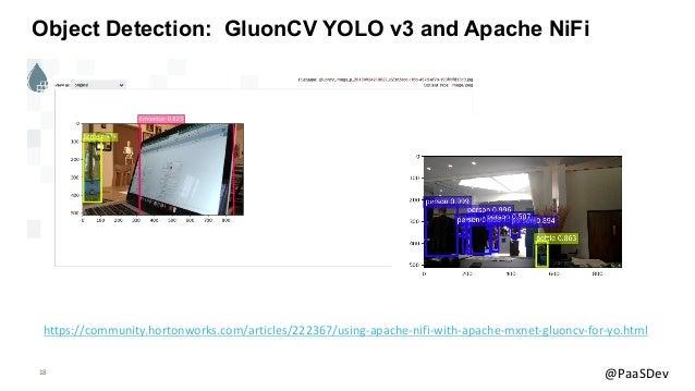 18 @PaaSDev Object Detection: GluonCV YOLO v3 and Apache NiFi https://community.hortonworks.com/articles/222367/using-apac...