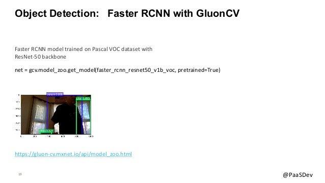 19 @PaaSDev Object Detection: Faster RCNN with GluonCV net = gcv.model_zoo.get_model(faster_rcnn_resnet50_v1b_voc, pretrai...