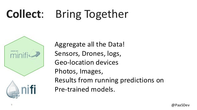 9 @PaaSDev Aggregate all the Data! Sensors, Drones, logs, Geo-location devices Photos, Images, Results from running predic...