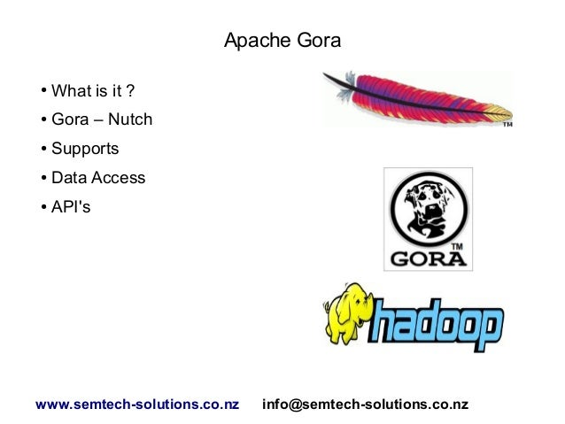 Apache Gora ●  What is it ?  ●  Gora – Nutch  ●  Supports  ●  Data Access  ●  API's  www.semtech-solutions.co.nz  info@sem...