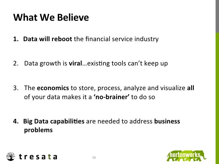What We Believe 1. Data will reboot the financial service industry 2. Data growth is viral…exis...
