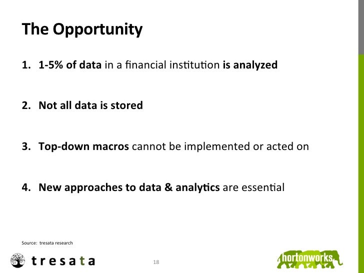 The Opportunity 1. 1-‐5% of data in a financial insJtuJon is analyzed 2. Not all data is s...