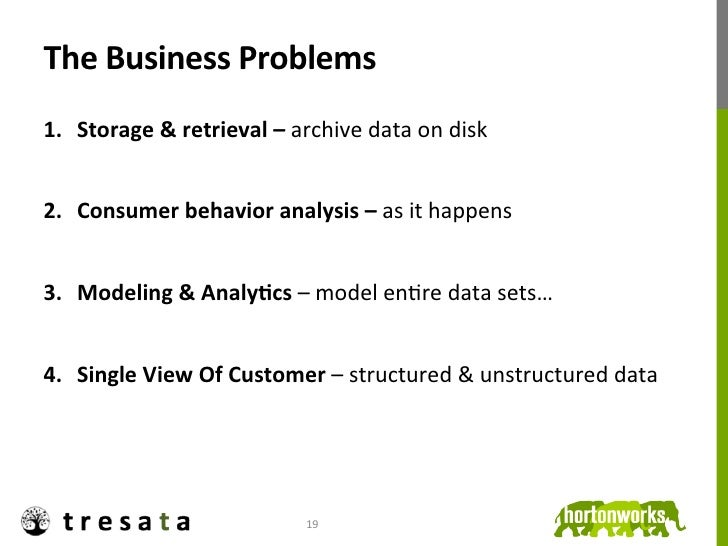 The Business Problems 1. Storage & retrieval – archive data on disk 2. Consumer behavior analy...