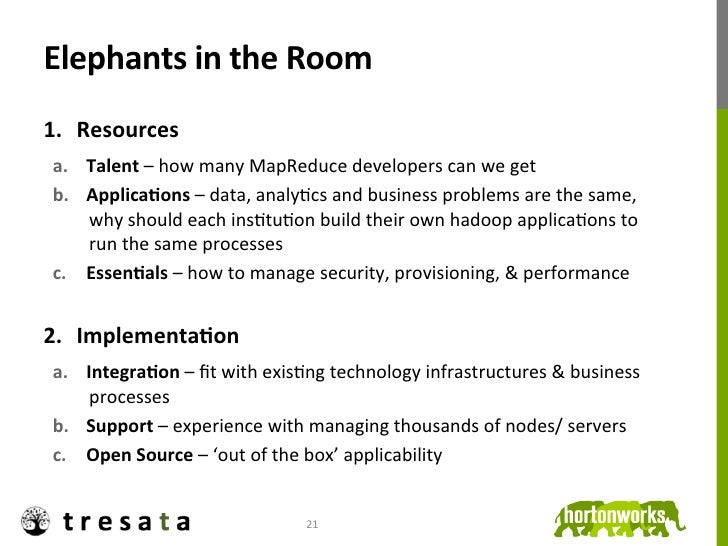 Elephants in the Room 1. Resources  a. Talent – how many MapReduce developers can we get  b....
