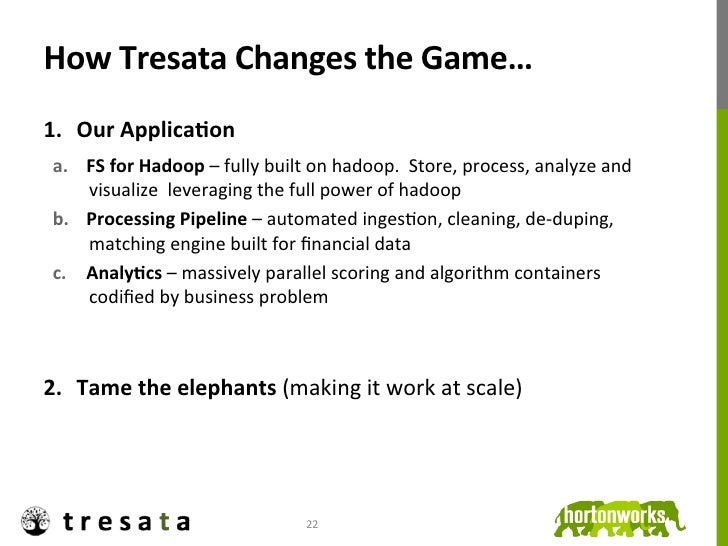 How Tresata Changes the Game… 1. Our ApplicaDon        a. FS for Hadoop – fully built on had...