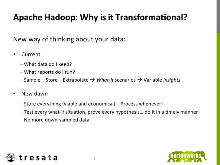 Apache Hadoop: Why is it TransformaDonal? New way of thinking about your data:  • Current ...