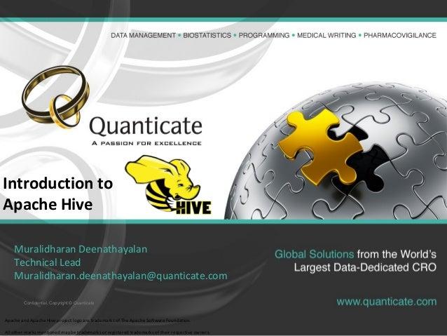 Confidential, Copyright © Quanticate Introduction to Apache Hive Muralidharan Deenathayalan Technical Lead Muralidharan.de...