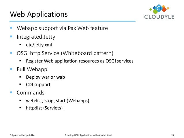 Apache karaf building osgi applications on apache karaf t frank 22 22 web applications malvernweather Images