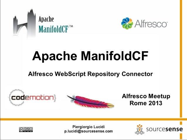 Apache ManifoldCFAlfresco WebScript Repository Connector                             Alfresco Meetup                      ...
