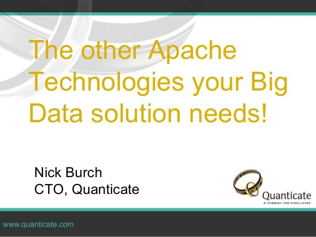 The other ApacheTechnologies your BigData solution needs!Nick BurchCTO, Quanticate