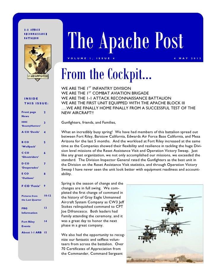 The Apache Post  1-1 ATTACK  RECONNAISSANCE  BATTALION                               V O L U M E   1 ,   I S S U E   4    ...