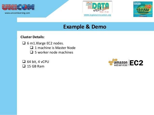 www.unicomlearning.com  www.bigdatainnovation.org  Example & Demo Cluster Details:   6 m1.Xlarge EC2 nodes.  1 machine i...