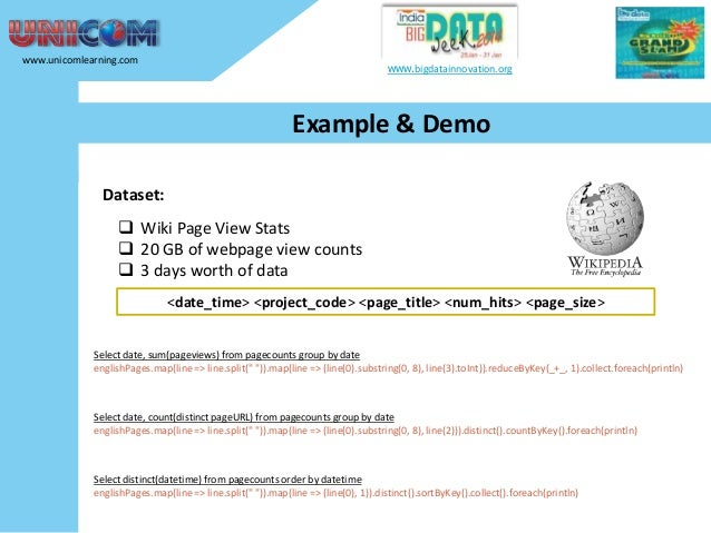 www.unicomlearning.com  www.bigdatainnovation.org  Example & Demo Dataset:   Wiki Page View Stats  20 GB of webpage view...