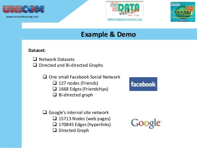 www.unicomlearning.com  www.bigdatainnovation.org  Example & Demo Dataset:  Network Datasets  Directed and Bi-directed G...