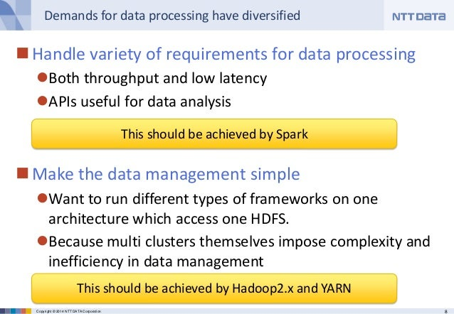 8Copyright © 2014 NTT DATA Corporation Demands for data processing have diversified Handle variety of requirements for da...