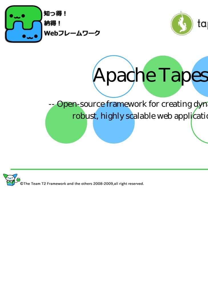 Apache Tapestry-- Open-source framework for creating dynamic,      robust, highly scalable web applications --