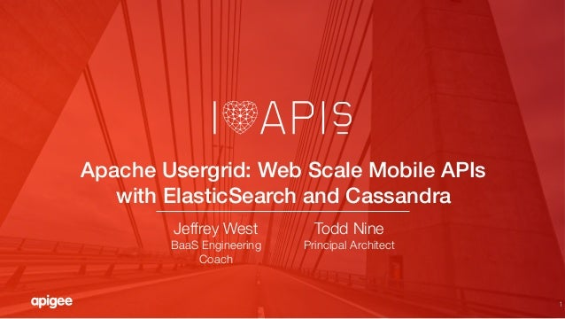 1 Apache Usergrid: Web Scale Mobile APIs with ElasticSearch and Cassandra! Todd Nine Principal Architect Jeffrey West BaaS...