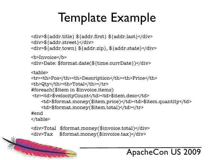 apache velocity 1.6, Invoice examples