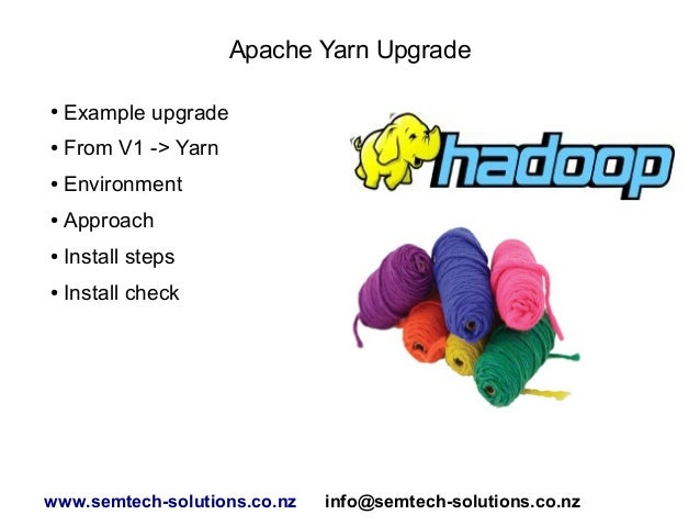 Apache Yarn Upgrade ● Example upgrade ● From V1 -> Yarn ● Environment ● Approach ● Install steps ● Install check www.semte...