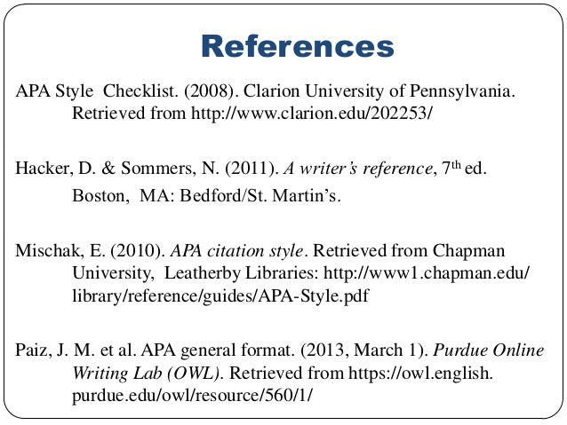 apa reference list for thesis