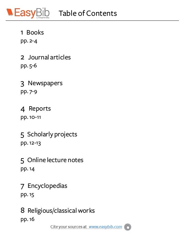 Apa Style Table Of Contents Example