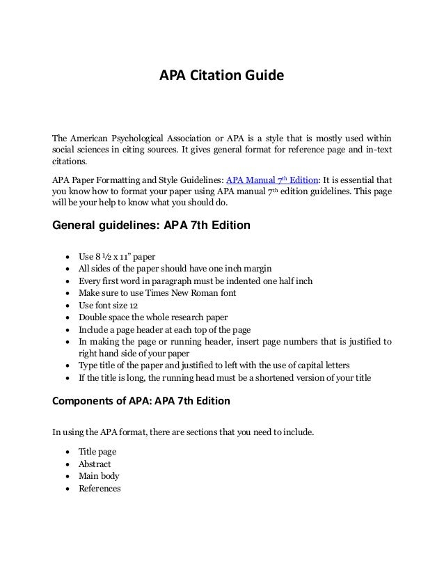 complete guide to apa format example to remember