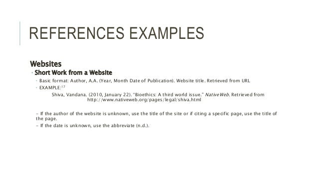 references web site