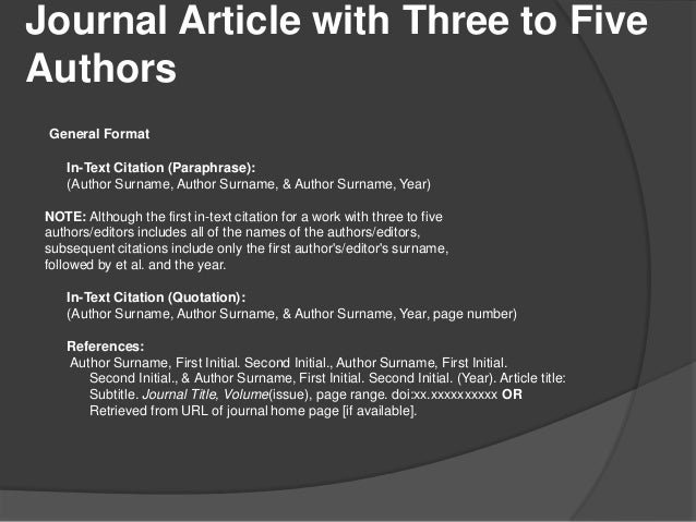 in text citation for journal article