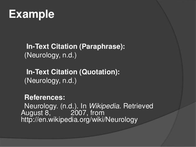 Apa paraphrase citation date