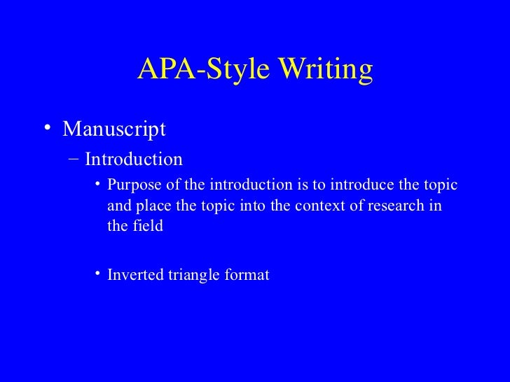 apa style essay introduction Sample apa paper 2 abstract the abstract is a one paragraph summary of the report write in block style (the first line is not indented) and use 120 words or less.