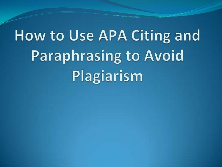Citing paraphrasing using