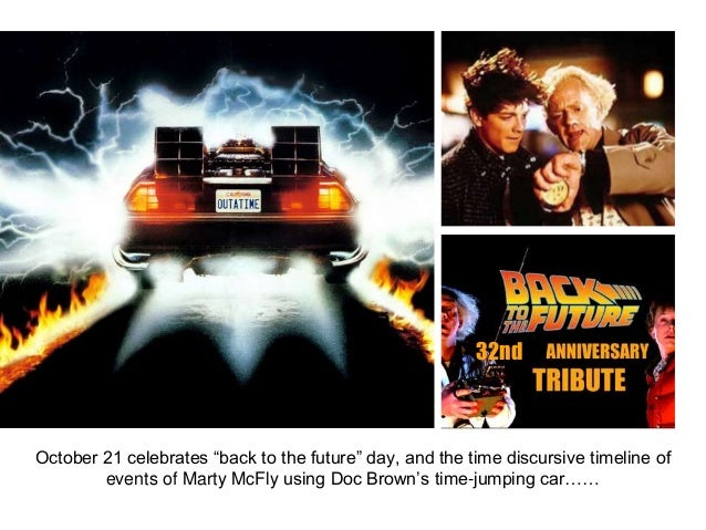 "32nd October 21 celebrates ""back to the future"" day, and the time discursive timeline of events of Marty McFly using Doc B..."