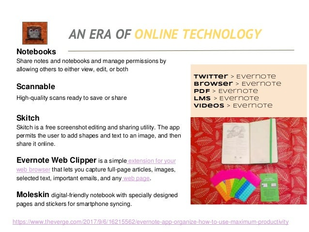 AN ERA OF ONLINE TECHNOLOGY https://youtu.be/1p_7snQhdLI What is Evernote? • Animated Infographic