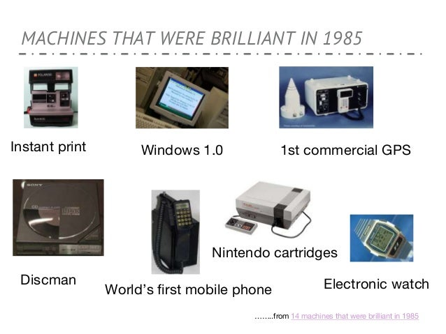 MACHINES THAT WERE BRILLIANT IN 1985 Discman World's first mobile phone Windows 1.0 1st commercial GPSInstant print Ninten...