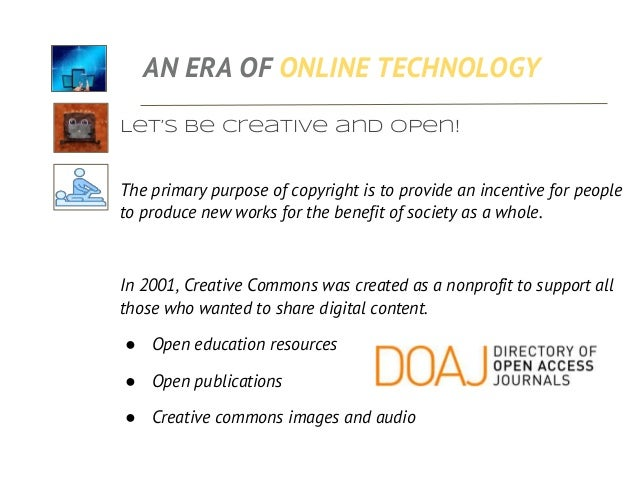 Let's be creative and open! Creative Commons license does not mean giving up your copyright. It means permitting users to ...
