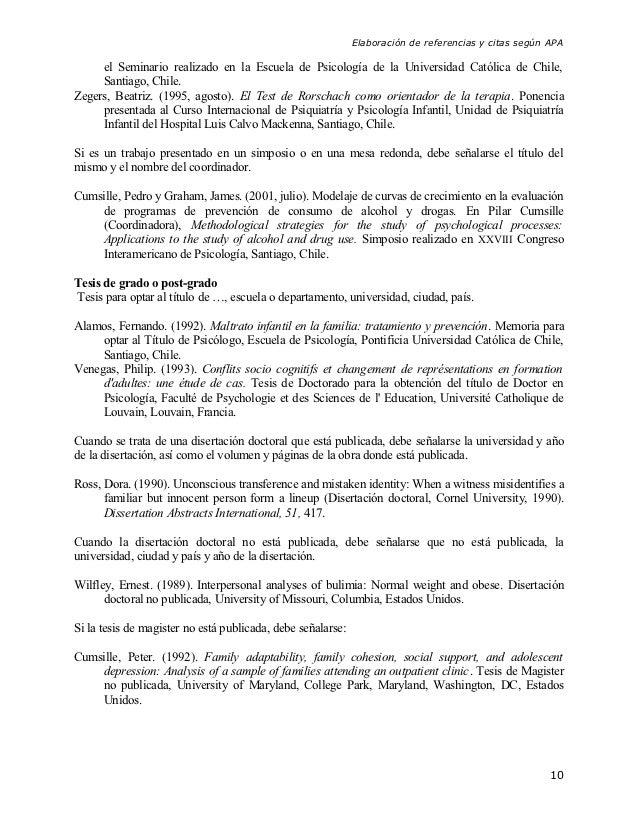 Elaboración de referencias y citas según APA     el Seminario realizado en la Escuela de Psicología de la Universidad Cató...