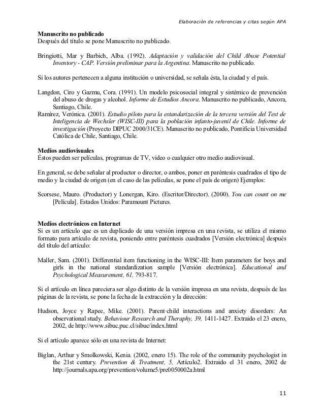Elaboración de referencias y citas según APAManuscrito no publicadoDespués del título se pone Manuscrito no publicado.Brin...